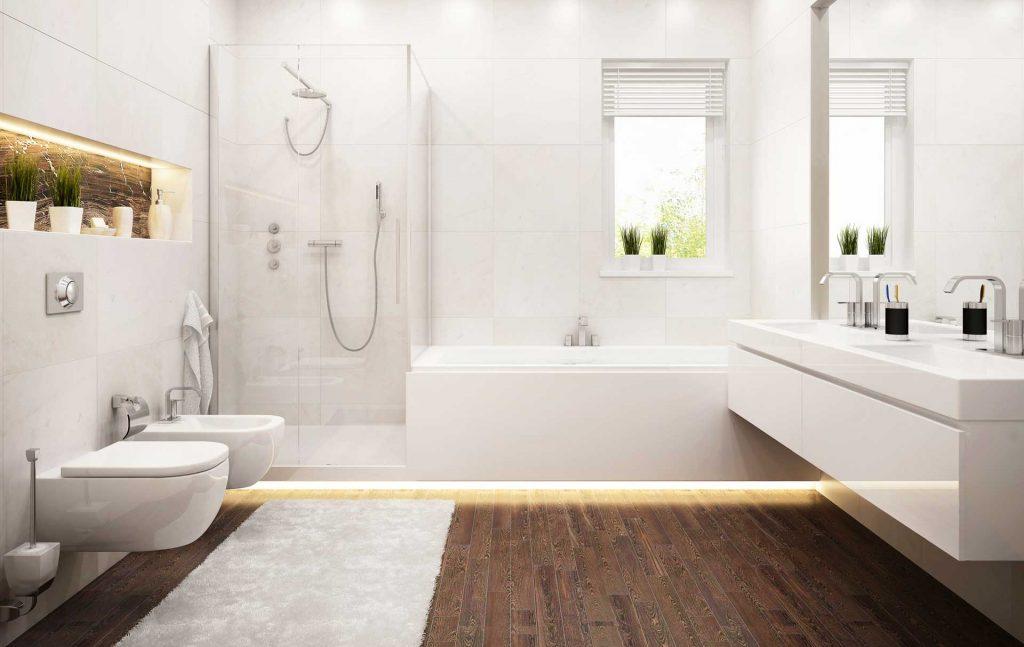 Badezimmer mit Holzakzenten