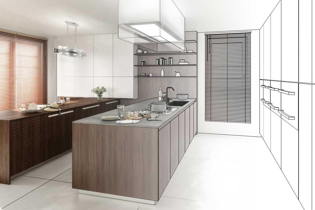 Planung einer Küche mit passenden Fliesen